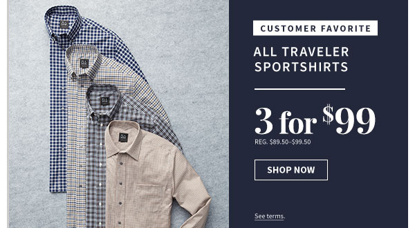 3 for $99 All Traveler Sportshirts