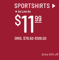 As low as $11.99 Clearance Sportshirts