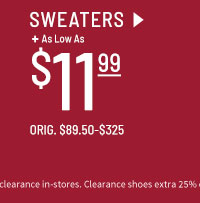As low as $11.99 Clearance Sweaters