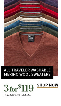 3 for $119 All Traveler Washable Merino Wool Sweaters